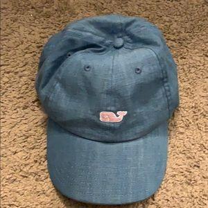 Vineyard Vines adjustable denim and pink hat